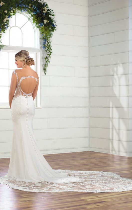 Cap Sleeve Crepe Sheath Wedding Dress by Essense of Australia - Image 2