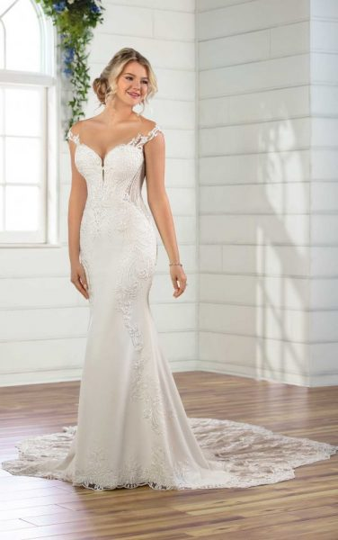 Cap Sleeve Crepe Sheath Wedding Dress by Essense of Australia - Image 1