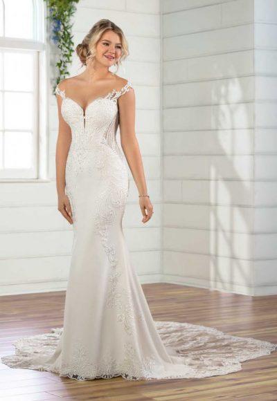 Cap Sleeve Crepe Sheath Wedding Dress by Essense of Australia