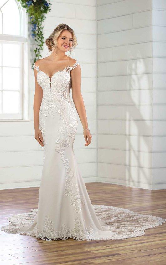Cap Sleeve Crepe Sheath Wedding Dress by Essense of Australia - Image 1