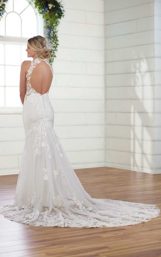 Halter Neck Sheath Wedding Dress by Essense of Australia - Image 2
