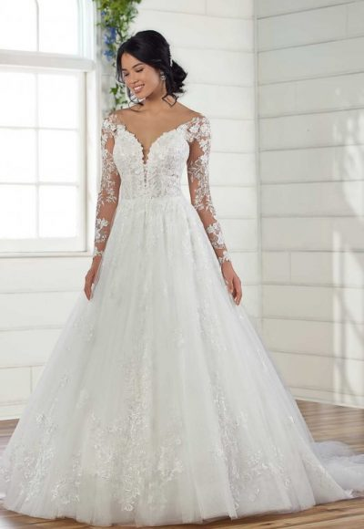 Long Sleeve Lace Ball Gown Wedding Dress by Essense of Australia