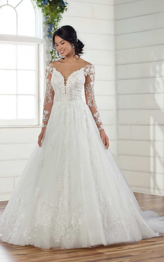 Long Sleeve Lace Ball Gown Wedding Dress by Essense of Australia - Image 1