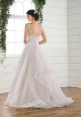 Sleeveless Glitter Ball Gown Wedding Dress With Tiered Skirt by Essense of Australia - Image 2
