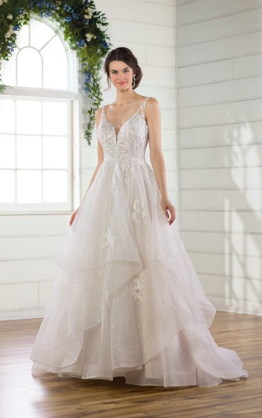 Sleeveless Glitter Ball Gown Wedding Dress With Tiered Skirt by Essense of Australia - Image 1