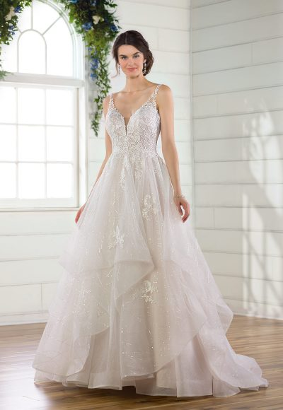 Sleeveless Glitter Ball Gown Wedding Dress With Tiered Skirt by Essense of Australia