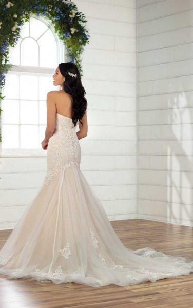 Strapless Lace Fit And Flare Wedding Dress by Essense of Australia - Image 2