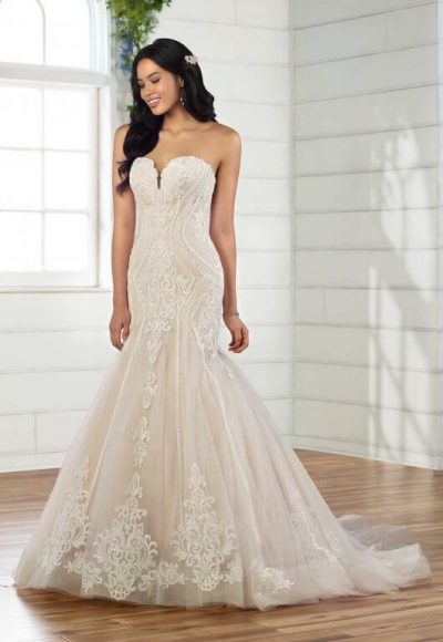 Strapless Lace Fit And Flare Wedding Dress by Essense of Australia