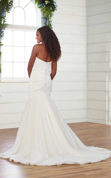 Strapless Pleated Fit And Flare Wedding Dress by Essense of Australia - Image 2