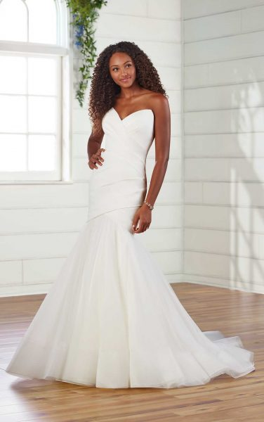 Strapless Pleated Fit And Flare Wedding Dress by Essense of Australia - Image 1