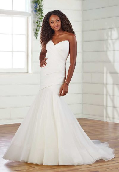 Strapless Pleated Fit And Flare Wedding Dress by Essense of Australia