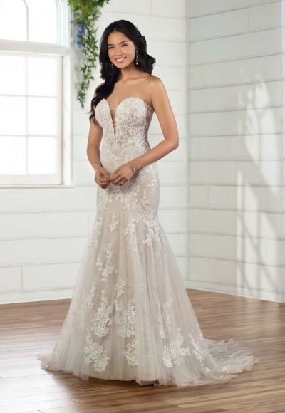 Strapless Sweetheart Fit And Flare Lace Wedidng Dress by Essense of Australia