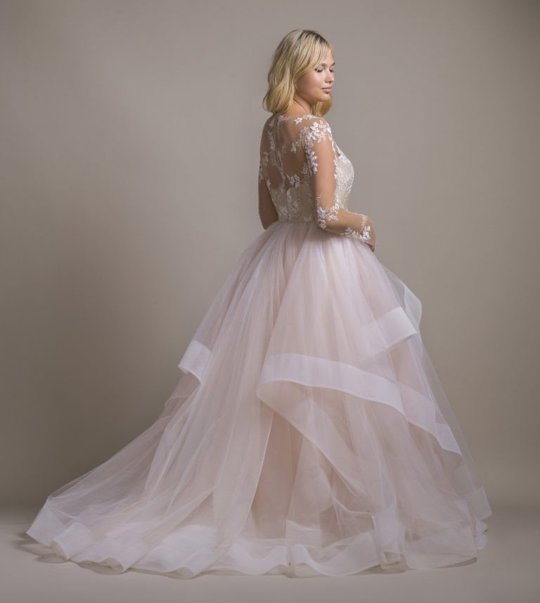 Illusion Neckline Long Sleeve Ball Gown Wedding Dress With Ruffle Skirt by Hayley Paige - Image 2