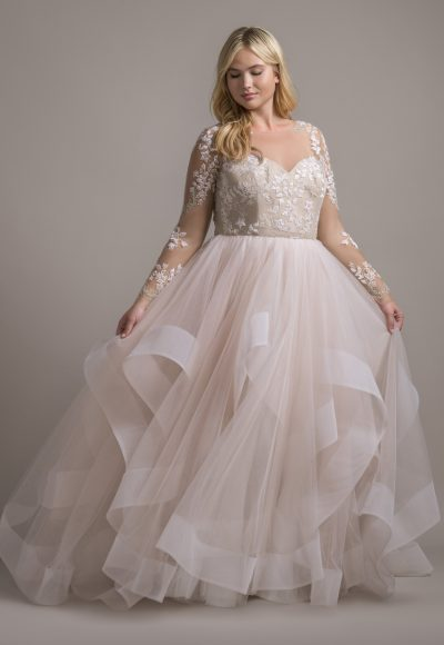 Illusion Neckline Long Sleeve Ball Gown Wedding Dress With Ruffle Skirt by Hayley Paige