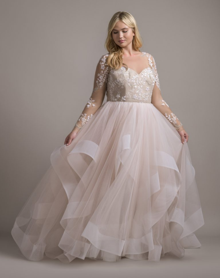 Illusion Neckline Long Sleeve Ball Gown Wedding Dress With Ruffle Skirt by Hayley Paige - Image 1