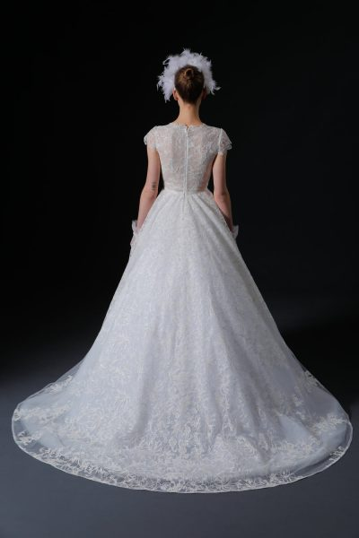Short Sleeve V-neck Lace Ball Gown Wedding Dress by Isabelle Armstrong - Image 2