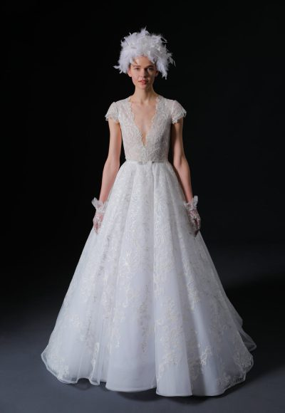 Short Sleeve V-neck Lace Ball Gown Wedding Dress by Isabelle Armstrong