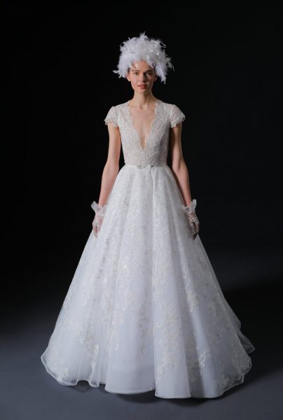Short Sleeve V-neck Lace Ball Gown Wedding Dress by Isabelle Armstrong - Image 1
