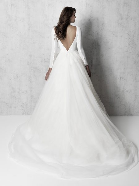 Long Sleeve Bateau Neckline Ball Gown Wedding Dress by Madison James - Image 2