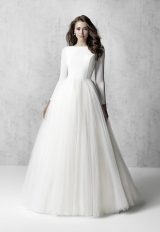 Long Sleeve Bateau Neckline Ball Gown Wedding Dress by Madison James - Image 1