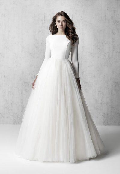 Long Sleeve Bateau Neckline Ball Gown Wedding Dress by Madison James