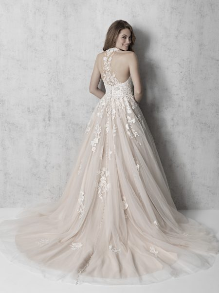 Sleeveless V-neck Floral Applique Ball Gown Wedding Dress by Madison James - Image 2