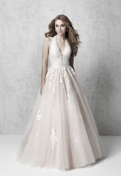 Sleeveless V-neck Floral Applique Ball Gown Wedding Dress by Madison James