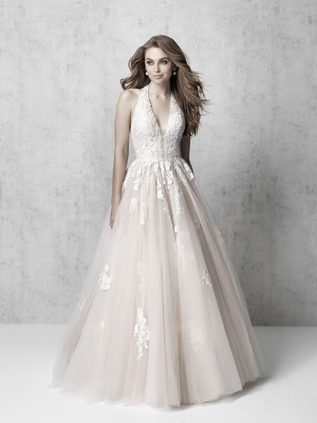 Sleeveless V-neck Floral Applique Ball Gown Wedding Dress by Madison James - Image 1