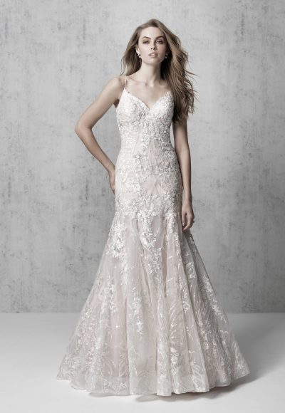 Spaghetti Strap Floral A-line Wedding Dress by Madison James