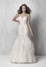 Strapless Beaded Fit And Flare Wedding Dress by Madison James - Image 1