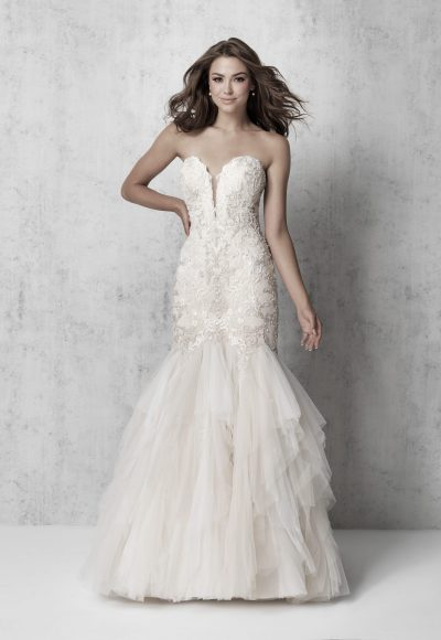 Strapless Beaded Fit And Flare Wedding Dress by Madison James