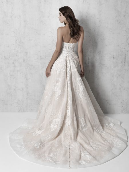 Strapless Lace Applique Ball Gown Wedding Dress by Madison James - Image 2
