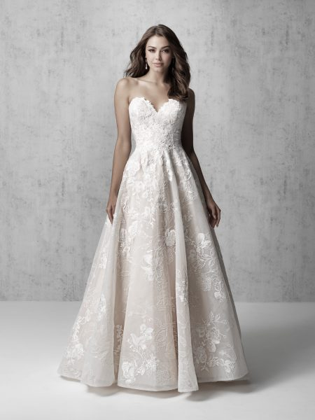Strapless Lace Applique Ball Gown Wedding Dress by Madison James - Image 1