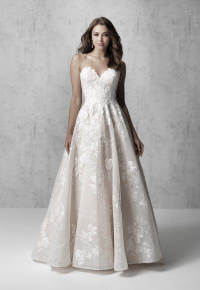 Strapless Lace Applique Ball Gown Wedding Dress by Madison James