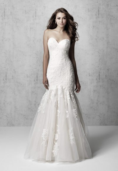 Strapless Ruched Fit And Flare Wedding Dress by Madison James