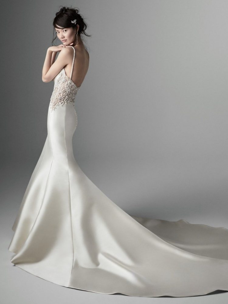 Spaghetti Strap V-neckline Beaded Back Mermaid Wedding Dress by Maggie Sottero - Image 2