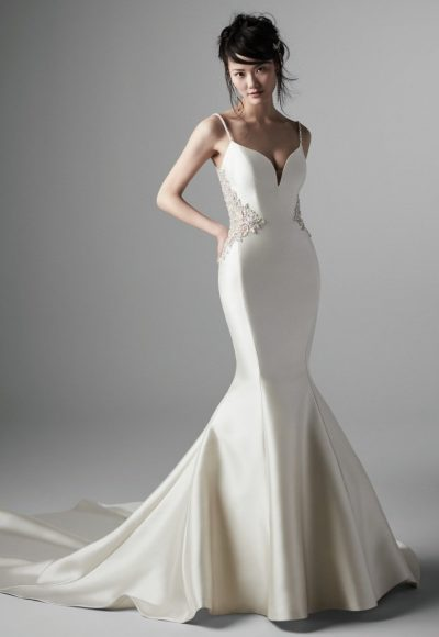 Spaghetti Strap V-neckline Beaded Back Mermaid Wedding Dress by Maggie Sottero