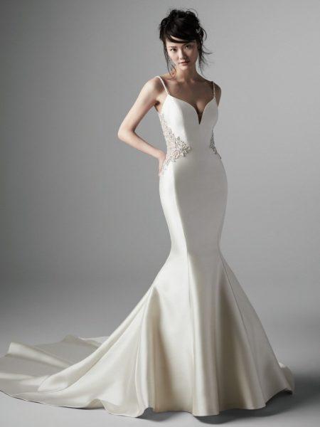 Spaghetti Strap V-neckline Beaded Back Mermaid Wedding Dress by Maggie Sottero - Image 1