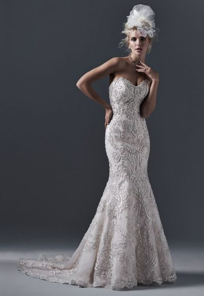 Strapless Sweetheart Neckline Beaded Lace Fit And Flare Wedding Dress by Maggie Sottero