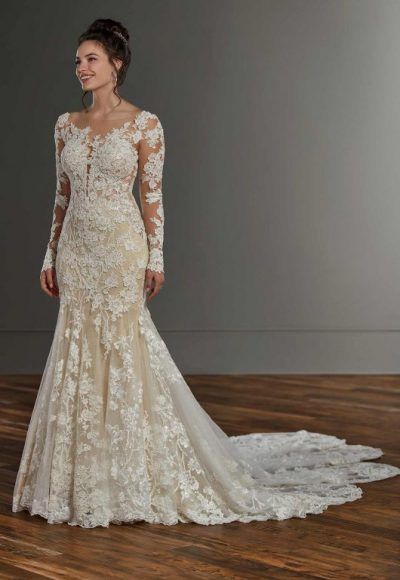 Long Sleeve Lace Fit And Flare Wedding Dress by Martina Liana