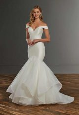 Mermaid Off The Shoulder Wedding Dress With Tiered Skirt by Martina Liana - Image 1
