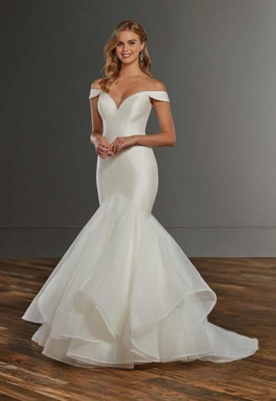 Mermaid Off The Shoulder Wedding Dress With Tiered Skirt by Martina Liana