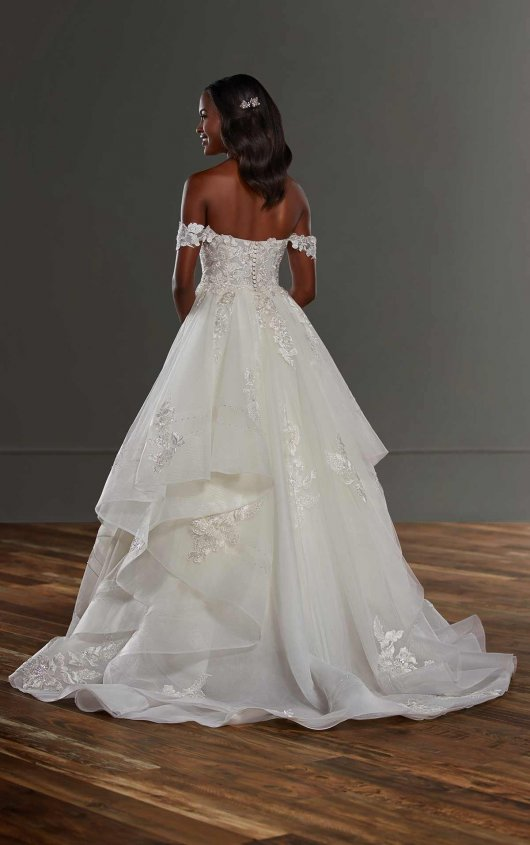 Off The Shoulder Ball Gown Wedding Dress With Tiered Skirt by Martina Liana - Image 2