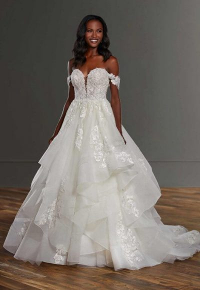Off The Shoulder Ball Gown Wedding Dress With Tiered Skirt by Martina Liana