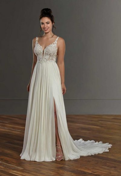Sleeveless Lace Sheath Wedding Dress With Slit by Martina Liana