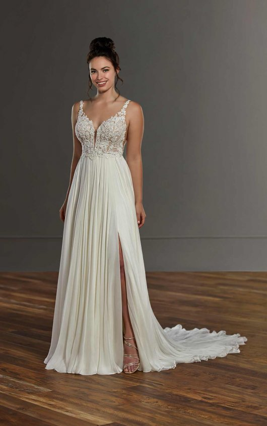 Sleeveless Lace Sheath Wedding Dress With Slit by Martina Liana - Image 1