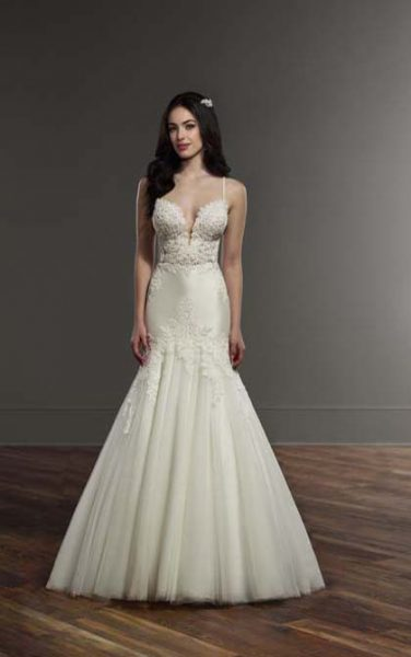 Spaghetti Strap Lace Mermaid Wedding Dress by Martina Liana - Image 1