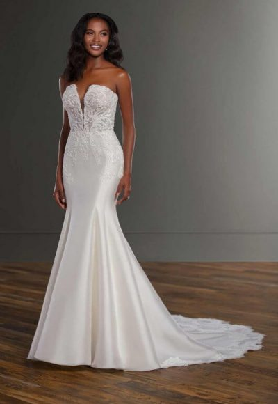 Strapless Silk Fit And Flace Wedding Dress by Martina Liana