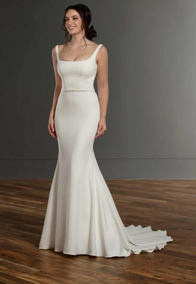 Stretch Crepe Sleeveless Wedding Dress by Martina Liana