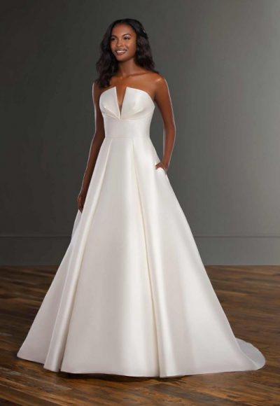 V-neck Silk Ball Gown Wedding Dress by Martina Liana